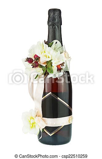 fleur d coration arrangements bouteille mariage champagne fleur isol d coration. Black Bedroom Furniture Sets. Home Design Ideas