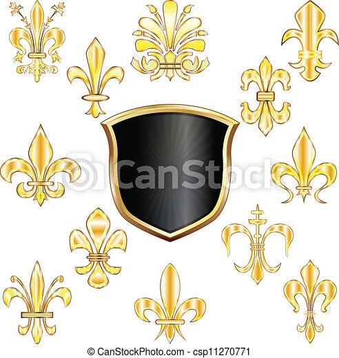 Fleur-de-lis and shield - csp11270771