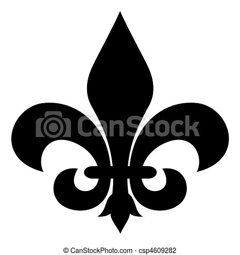 Black Silhouetted Of Fleur De Lis Symbol Isolated On White Background