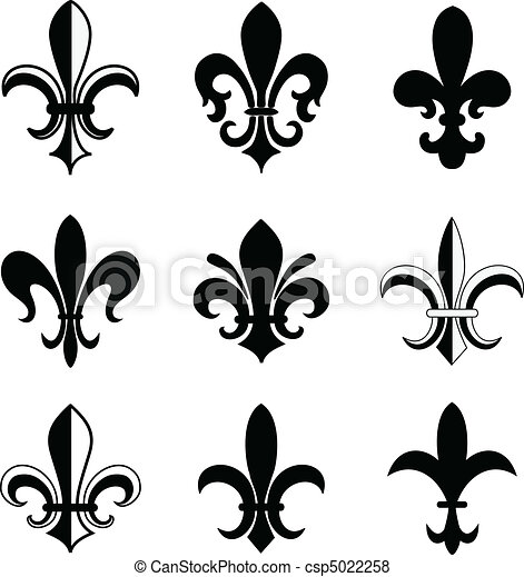 Fleur De Lis Vector Icon Set Isolated Elements