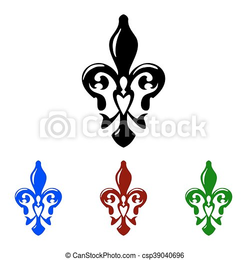 Fleur De Lis Symbol French Lily Icons Isolated On A White Background
