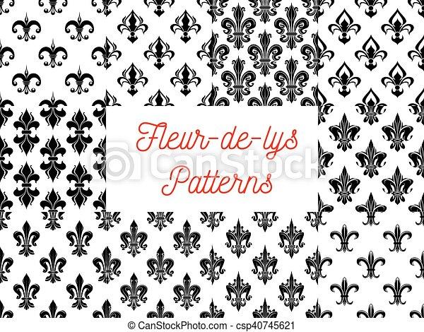 Fleur De Lys Royal French Lily Seamless Patterns