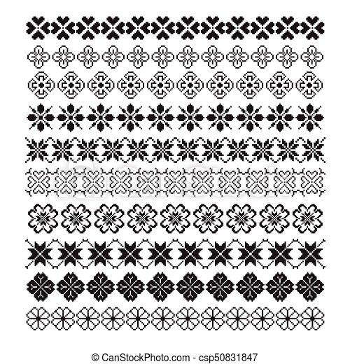 Fleur Ensemble Modèle Ornement Vecteur Brosse Pixel