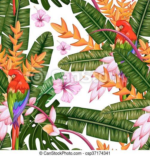 fleur exotique, macau, modèle, seamless, exotique - csp37174341