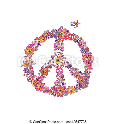 Fleur Hippie Symbole Paix Impression Fleurs Resume