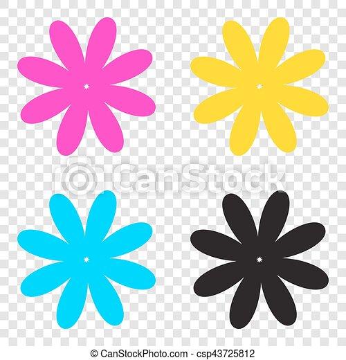 fleur, illustration., icônes, signe, cmyk, arrière,plan., transparent