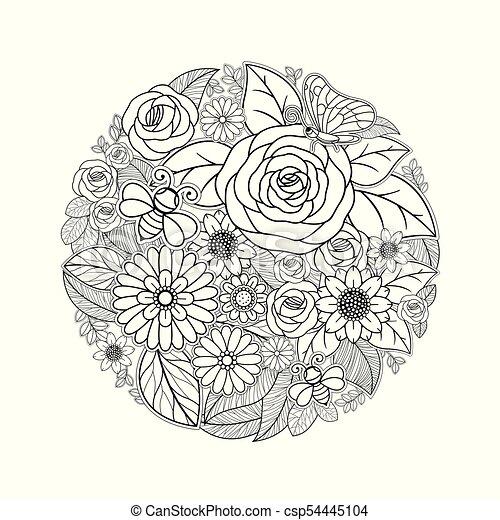 Fleur Isolé Exotique Conception Noir Blanc Dessin