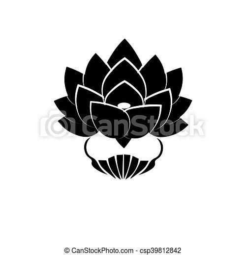 Fleur Lotus Image Engagement Stylisé Arrière Plan Bouddha Noir Japon Blanc Symbole