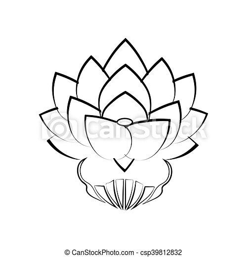 Fleur Lotus Image Engagement Stylisé Fond Noir Japon Blanc Bouddha Tattoo Symbole