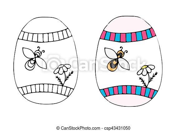 fleur, oeuf, main, dessiné, abeille, paques - csp43431050