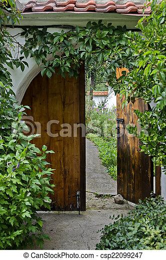 fleur, porte, entrée - csp22099247