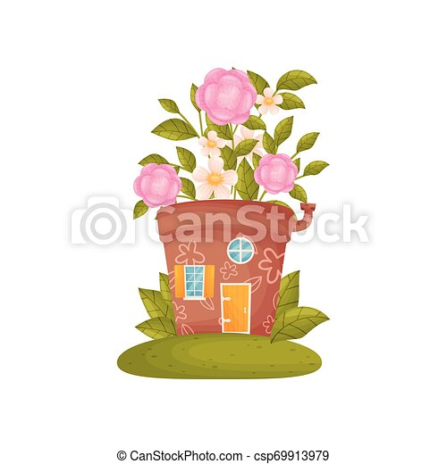 fleur, pot., maison, fée-conte, arrière-plan., vecteur, illustration, blanc - csp69913979