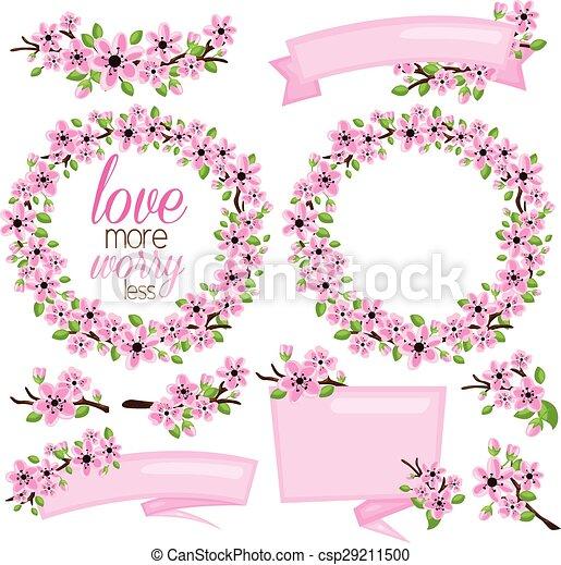 fleur rose, bannière - csp29211500