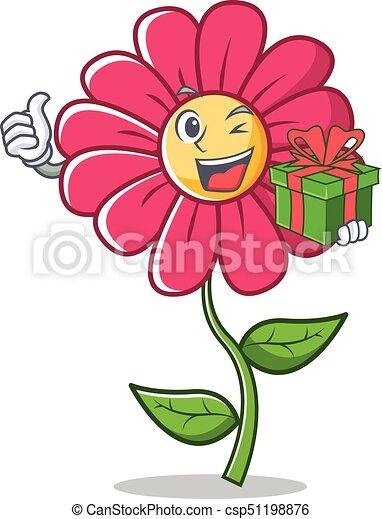 Fleur rose caract re dessin anim cadeau fleur rose cadeau caract re illustration - Fleur rose dessin ...