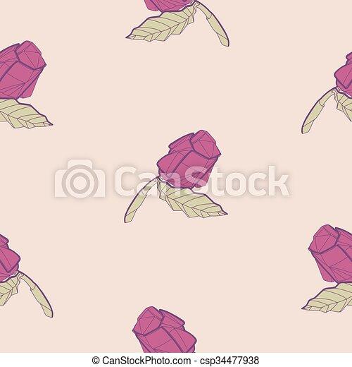 Fleur Rose Résumé Illustration Modèle Origami Rouges Décor