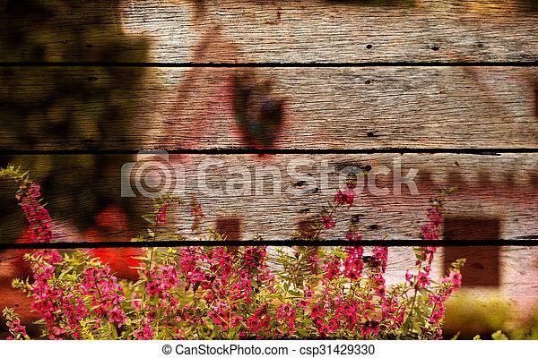 Fleur Rose Vieux Bois Photo Peinture Panneau Rose Style