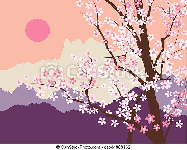 Fleur Sakura Montagnes Fond Fleur Printemps Resume Arbre