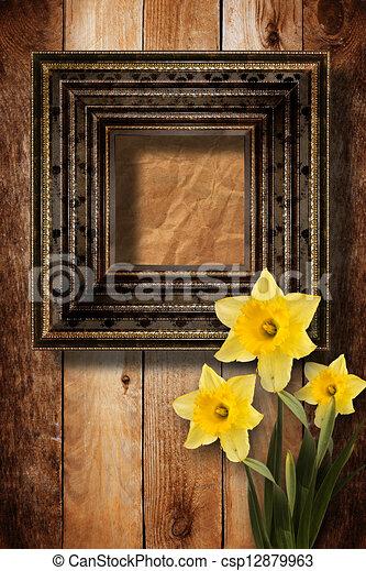 fleur vieux bois porte photo narcisse tas illustration de stock rechercher des cliparts. Black Bedroom Furniture Sets. Home Design Ideas