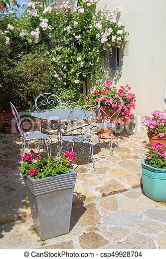 fleuri, terrasse, meubles jardin