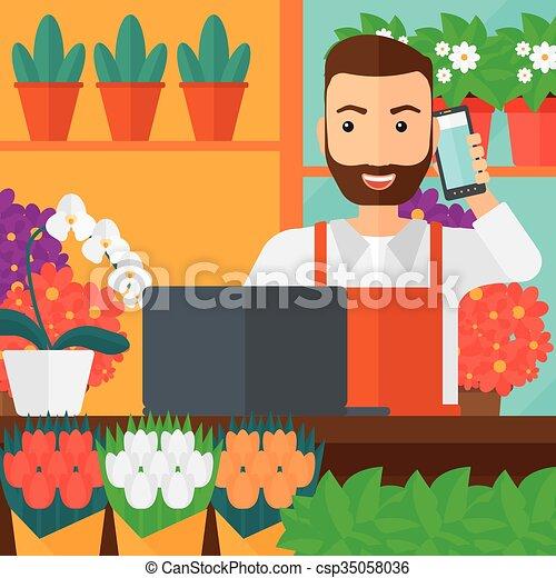 Fleuriste order prendre magasin plat carr e - Fleuriste dessin ...