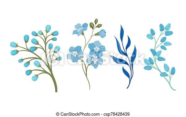 fleurs, éléments, ensemble, vecteur, feuilles, bleu, full-blown, décoratif - csp78428439
