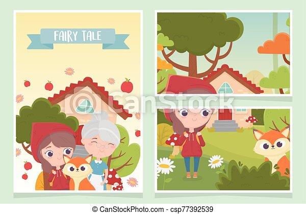 fleurs, équitation, peu, capuchon, fée, arbre, loup rouge, maison, conte, grand-maman, forêt - csp77392539