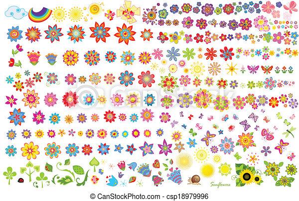 fleurs, été, papillons, soleil - csp18979996