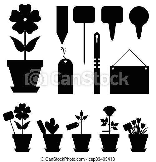 fleurs, étiquettes, ensemble, jardin - csp33403413