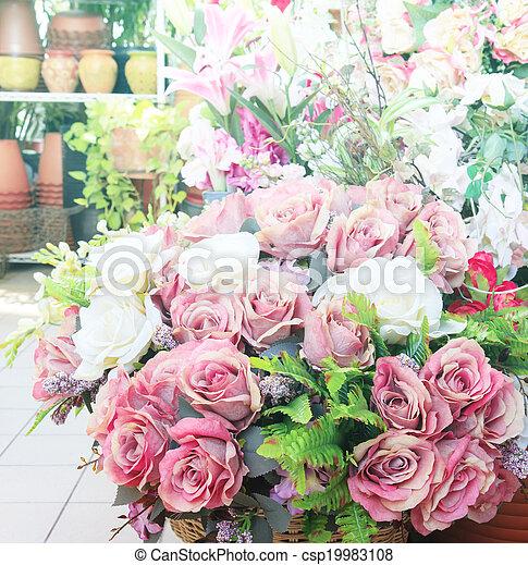 fleurs, arranger, bouquet, décoration, maison - csp19983108