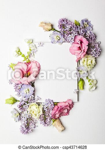 fleurs, carte, invitation - csp43714628