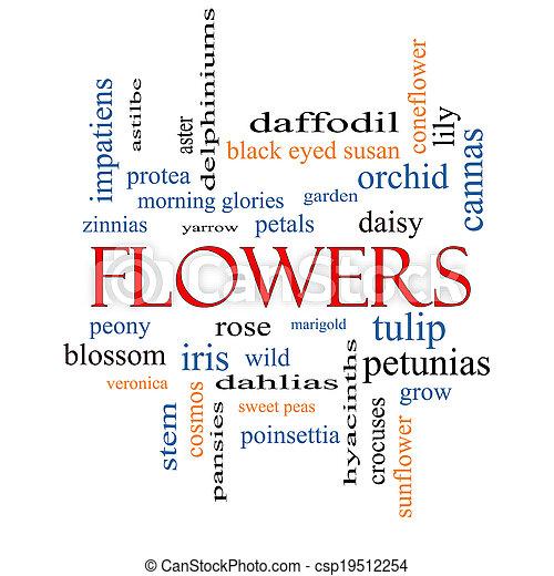 fleurs, concept, mot, nuage - csp19512254