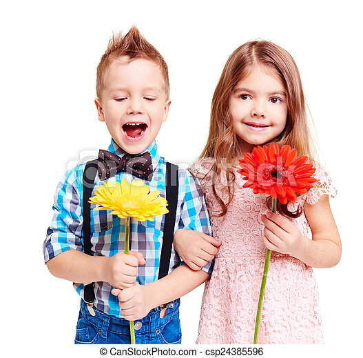 fleurs, enfants - csp24385596