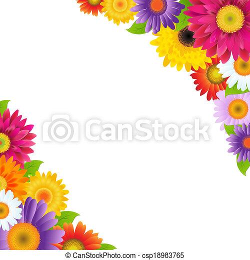 fleurs, frontière, coloré, gerbers - csp18983765