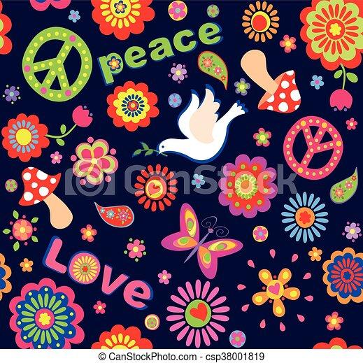 fleurs hippie color symbolique pu ril papier peint. Black Bedroom Furniture Sets. Home Design Ideas
