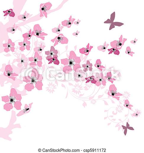 fleurs, printemps, élégant, fond, cerise, décoré - csp5911172