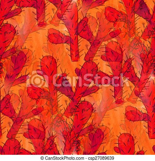 Fleurs Roses Papier Peint Seamless Texture Aquarelle Cactus