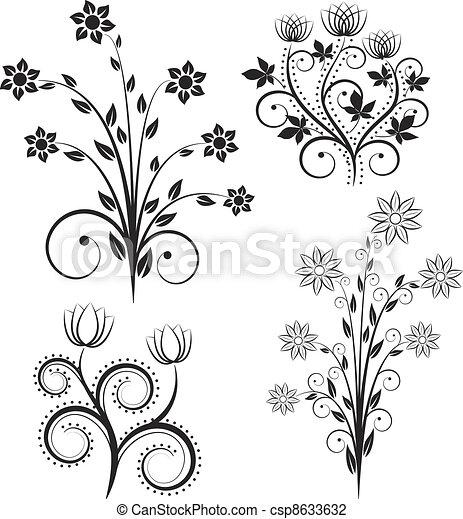 fleurs, silhouette - csp8633632