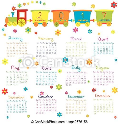 fleurs, train, jouet, 2017, calendrier - csp40576156