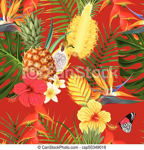 fleurs tropicales, seamless, fruit - csp55349016