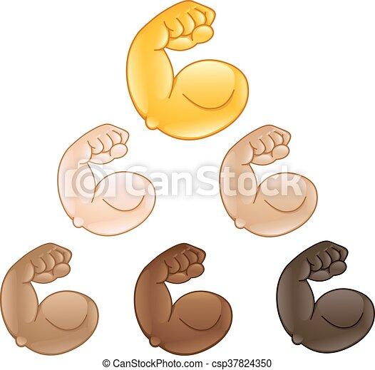 Flexed biceps hand emoji - csp37824350