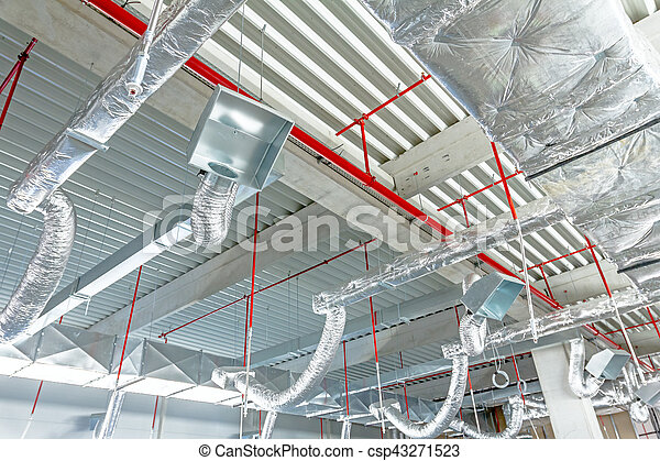 Flexible air conditioning and fire fighting system is placed on the ceiling - csp43271523
