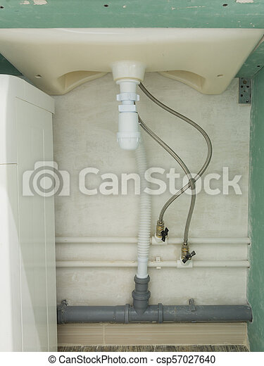 Flexible connection of cold and hot water and a wash-basin siphon - csp57027640