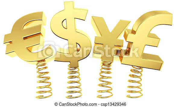 Flexible Exchange Rates Golden Currency Symbols Jumping On Springs