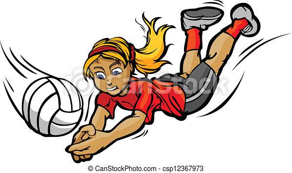 flicka, boll, volleyboll, dykning, illustration, vektor, tecknad film - csp12367973