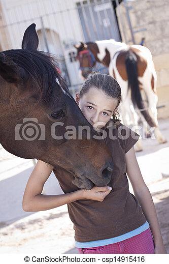flicka, häst - csp14915416