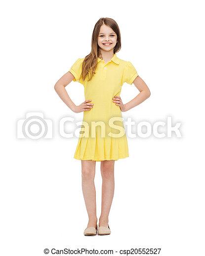 flicka, litet, klänning, le, gul - csp20552527