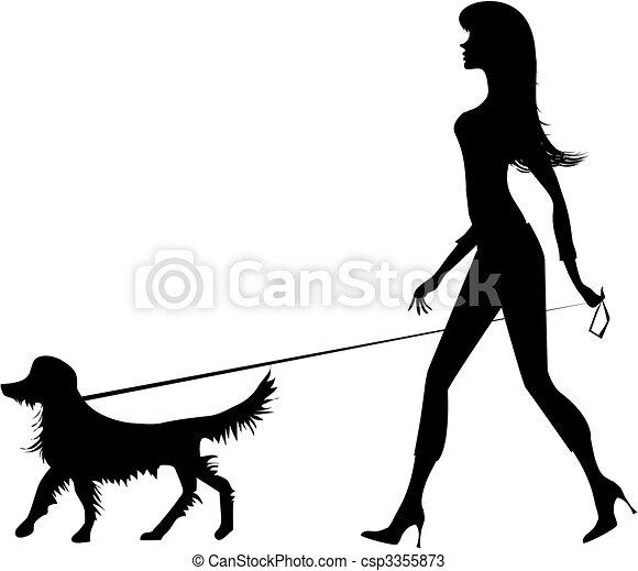 flicka, silhuett, hund - csp3355873