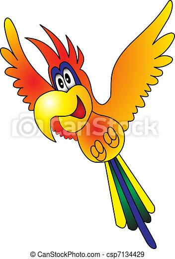 fliegendes, fröhlich, papagai - csp7134429