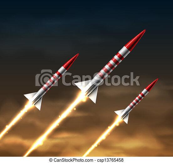 fliegendes, raketen - csp13765458