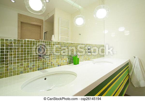 Stock Foto   Fliesenmuster, Modern, Grün, Badezimmer